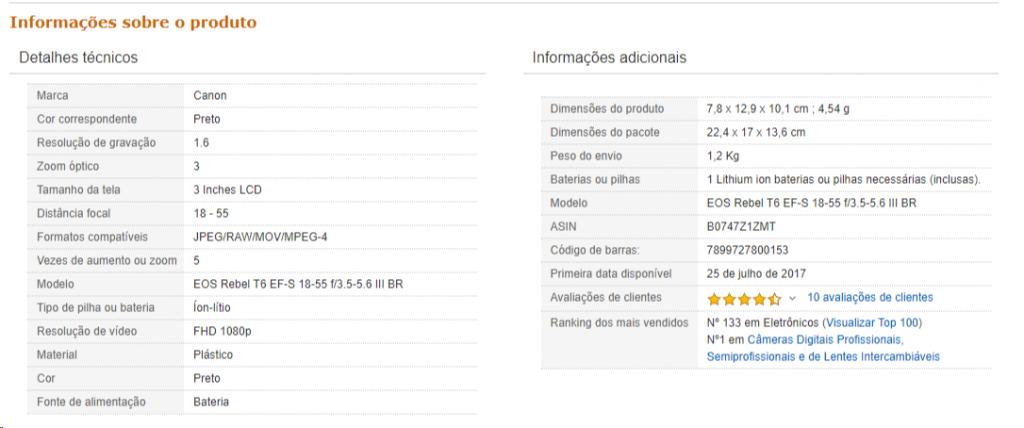 Exemplo de detalhes técnicos na Amazon