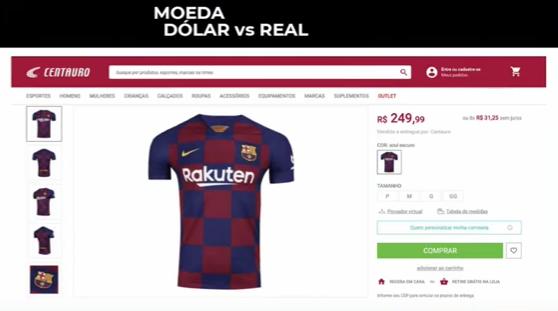 Anúncio de camisa do Barcelona na Centauro