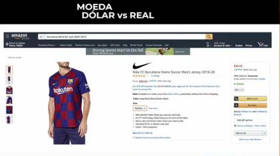 Anúncio de camisa do Barcelona na Amazon